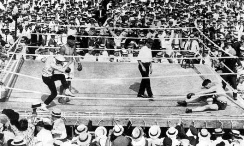Pecord in the ring with Dempsey and Willard