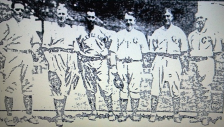 Earl Moore, Cy Young, Bill Bradley, Charlie Hickman, Nap Lajoie and Chief Zimmer at the 1923 game.