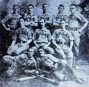 The 1888 Dallas Hams--Identifiable players: Front right Bill Goodenough, front left, Pat Whitaker, seated left, Ducky Hemp, standing left Charlie Levis, standing right John Fogerty,
