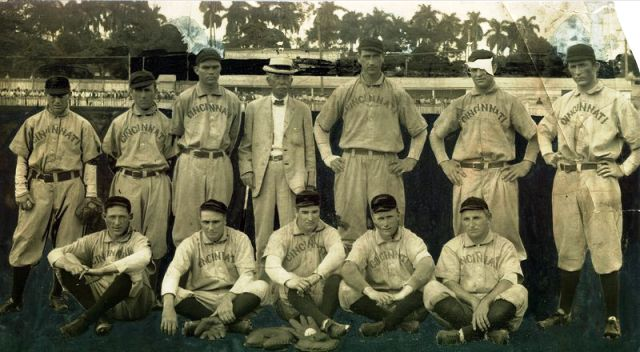 Larry McLean, standing end right, Miller Huggins, standing end left, and Frank Bancroft, standing middle (in suit) on the 1908 Cuban tour.