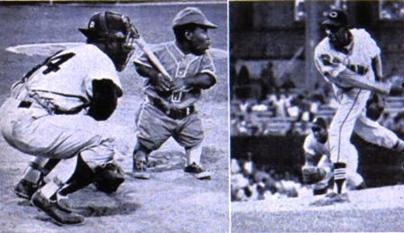 Satchel Paige pitching, Dero Austin at the plate.  Comiskey Park 1966