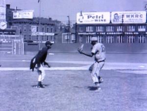 "Richard ""King Tut"" King, left and Goose Tatum at Crosley Field, Cincinnati, performing the ball juggling routine"
