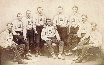 Jack Chapman, far right, with 1868 Brooklyn Atlantics