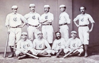 1869 Red Stockings, Harry Wright, standing third from left, George Wright standing to the right of him.