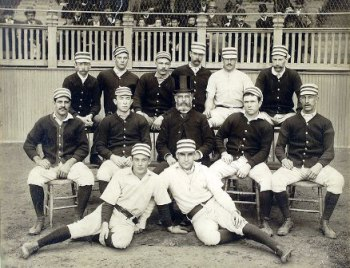 Harry Wright, center, with his 1887 Philadelphia Quakers