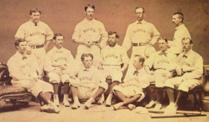 1871 Red Stockings. Spalding, standing second from left, Barnes, standing far right, O'Rourke, seated far left.