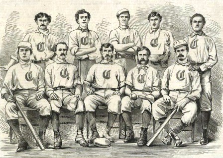 Doug Allison, standing third from left, with the 1869 Cincinnati Red Stockings