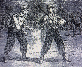 "A print from the 1870s depicting ""Nat"" Hicks ""behind the bat"" with the New York Mutuals."