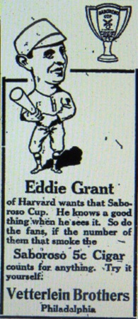 1910 Advertisement for the  Vetterlein Brothers Cigar Company; the Saboroso Cup mentioned in the ad was presented to the phillies or Athletics player with the highest batting average.