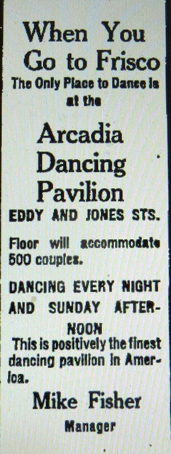 Advertisement for Fisher's Arcadia Dancing Pavilion.
