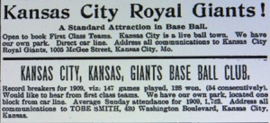 Competing advertisements for the Kansas City Royal giants and Giants in The Freeman, 1910