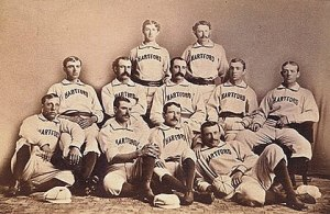 Tom York, middle row, far right, with the 1876 Hartford Dark Blues