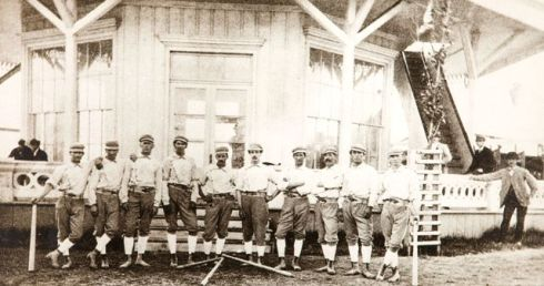 "The 1870 White Stockings: Ned Cuthbert, Fred Treacey, Charlie Hodes, Bill Craver, Charlie Hodes, Levi Meyerle,Bob McAtee, , Marshall King, and William ""Clipper"" Flynn"