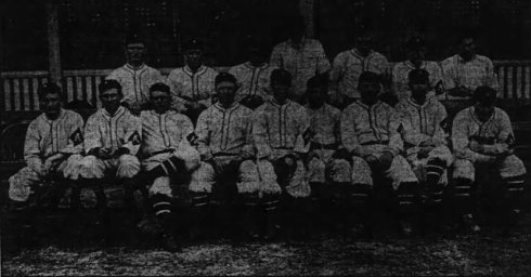 The 1910 Atlanta Crackers:  Standing, from Left to right: Arista DeHaven, Charlie Seitz, Paul Sentell, Brown Rogers, Hyder Barr, Roy Moran, and Ed Hohnhorst,  Seated from left: Scott Walker, Hank Griffin, Syd Smith, Otto Jordan, Bick Bayless, Erskine Mayer, Harry Matthews, Harold Johns and Tom Fisher.