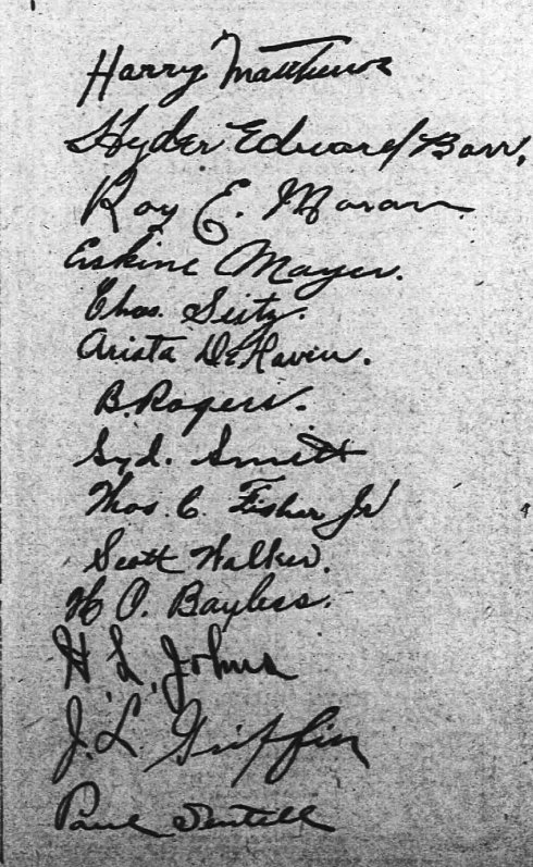 The signatures of the 1910 atlanta Crackers that appeared with their open letter to the fans.