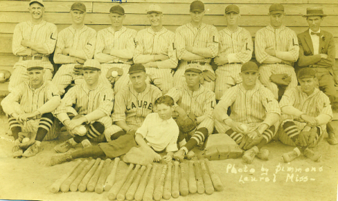 1924 Laurel Lumberjacks.  Roy Spruell is in the top row, third from left.  The player seated on the far left in the front row appears to be future big league pitcher Ray Moss who pitched for the Brooklyn Robins and Boston Braves.