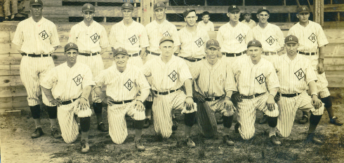 The 1926 Cotton States League champion Hattiesburg Pinetoppers.  Roy Spruell is standing third from left.  Manager/shortstop Herschel Bobo is kneeling far left.