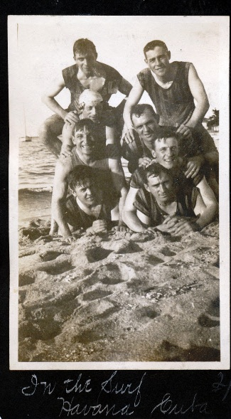 Chalmers and his Phillies teammates on the beach in Havana, Cuba
