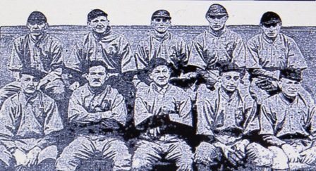 Arlie Latham, front row center, with army team in London, 1918