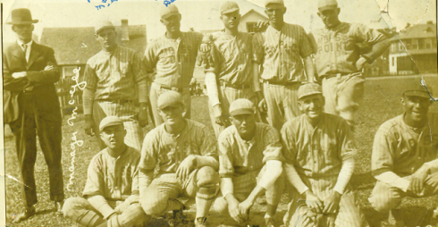 The 1923 Papermakers, Roy Spruell is standing second from right.  His brother Harvey is in the middle of the front row.   The other players are identified as: Standing at left - Manager McGee 2nd from left  - Pat McGee 3rd from left  - Matt Delmas 4th from left-unidentified. 6th from left - Sam Leslie   Seated at left - Johnnie Cunningham 2nd from left - Brother Nelson 4th from left - John Bell