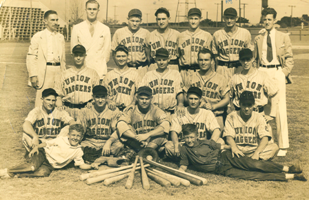 The Union Baggers, circa 1937.  Roy Spruell, standing second from right.