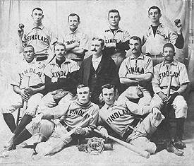 "Grant ""Home Run"" Johnson, left center row and John ""Bud"" Fowler, right center row, with the independent Findley (OH) Sluggers in 1894."
