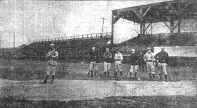 Charlie Babb takes batting practice in Indianapolis in 1902.