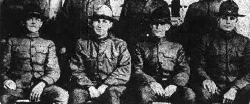 Leonard A. Wattelet, second from left with other sports directors at Camp Lewis 1917