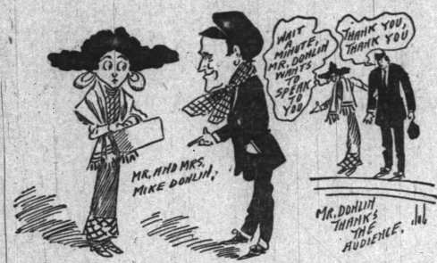 Cartoon of Donlin and Mabel Hite, 1909