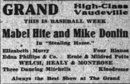 """""""Sliding Home"""" advertisement. Grand Theater, Indianapolis."""