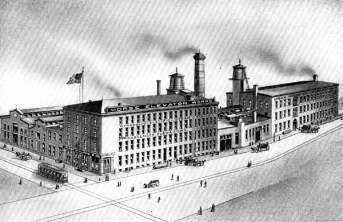 Reach's main factory in 1886 at Frankford Avenue and Wildey Street in Philadelphia---The Martin Landenberger Hosiery Mill Complex/Morse Elevator Works Building
