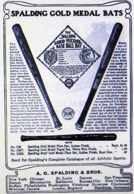 Spalding bat advertisement circa 1905