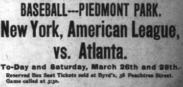 advertisement for the 1903 New York Highlanders spring games with the Atlanta Crackers