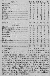 Box score for Borchers' first start for the Sacramento Unions (July 26, 1885) after jumping the Sacramento Altas.  Borchers beat his former team 3 to 0.