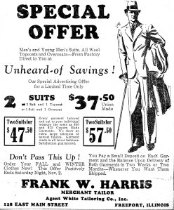 A 1929 advertisement for Frank Harris' tailor business