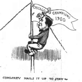 "Cartoon of ""pennant"" being hoisted from The Chicago Tribune."