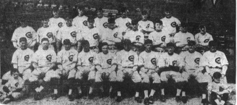 1916 Chicago Cubs.  Joe Tinker Jr. seated right, Roland Tinker seated left.