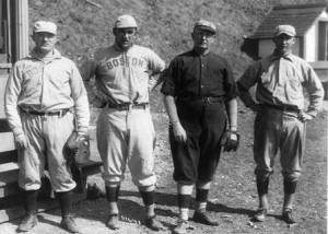 Cy Young, third from left, with Bill Carrigan, Jake Stahl and Fred Anderson at Hot Springs in 1912