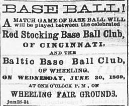 Advertisement for the Wheeling game.