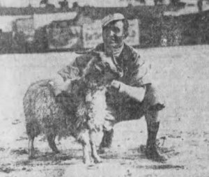 "Frank Black poses at Chutes Park with Jim McCormick's ""goat"" after the victory."