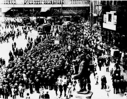 "The New York Sun presented their own ""Baseball Bulletin Board""  on New York's Park Row in 1914"