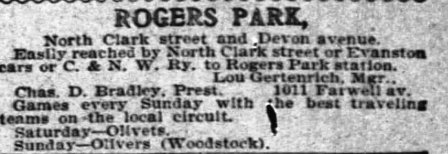 1906 advertisement for the Rogers Parks, when Gertenrich played for and managed the team