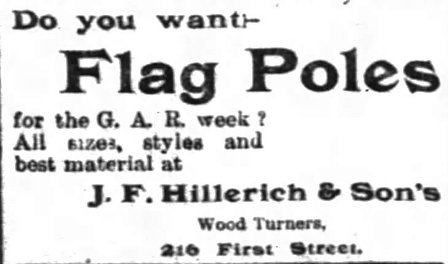 An advertisement for flag poles which appeared in Louisville papers on the eve of the 29th Encampment of the Grand Army of the Republic in September of 1895 shows the company name as J.F. Hillerich & Son's.