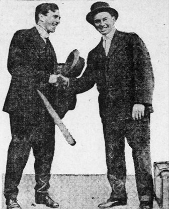 "Hooper, left, with Red Sox teammate George ""Duffy"" Lewis after the 1915 World Series"