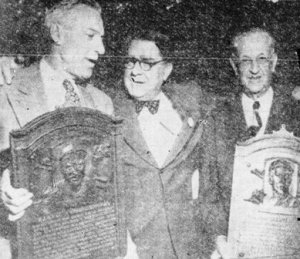 Nichols, right, with Pie Traynor, left, and Branch Rickey at the Hall of Fame in 1949. Traynor was elected in 1948, but his plaque was not presented until 1949