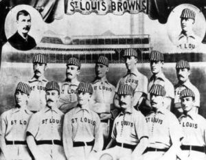 1885 St. Louis Browns--Nicol is on the far right of the bottom row.