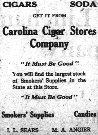 Advertisement for Angier's cigar store