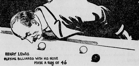 "A Ripley's Believe it or Not Drawing about one of ""Professor Lewis'"" billiard feats."