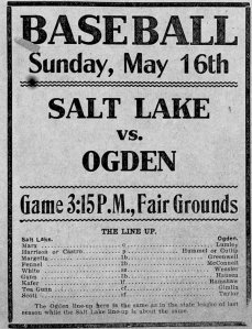 Advertisement for a 1909 Utah State League game between Salt Lake City and Ogden.  Hausen played third base.