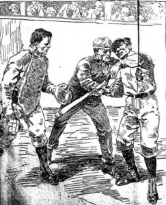 A newspaper rendering of Jennings' beaning by Rusie. The catcher is Jack Warner, Hank O'Day is the umpire.